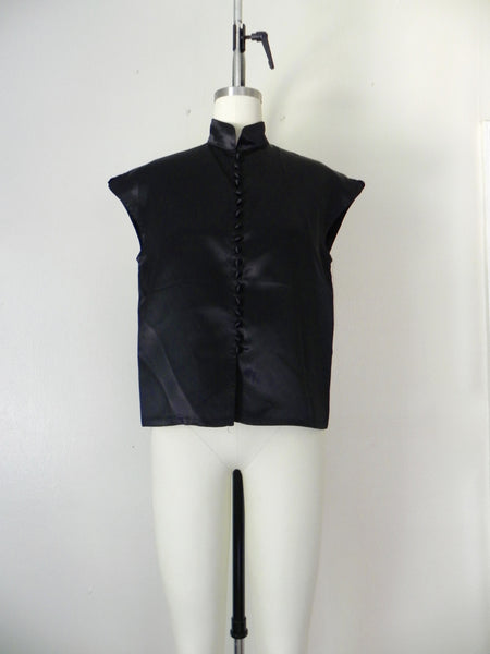 Vintage 1980s Black Acetate Silk Crop Top and Pants Set - Vintage World Rocks - 7