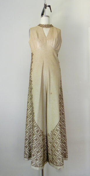 Vintage 1940s-1950s Gold Metallic Sequin Jumpsuit AS IS - Vintage World Rocks - 3