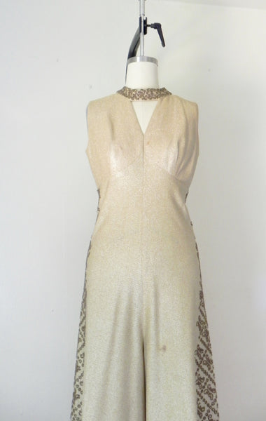 Vintage 1940s-1950s Gold Metallic Sequin Jumpsuit AS IS - Vintage World Rocks - 4