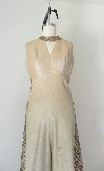 Vintage 1940s-1950s Gold Metallic Sequin Jumpsuit AS IS - Vintage World Rocks - 5
