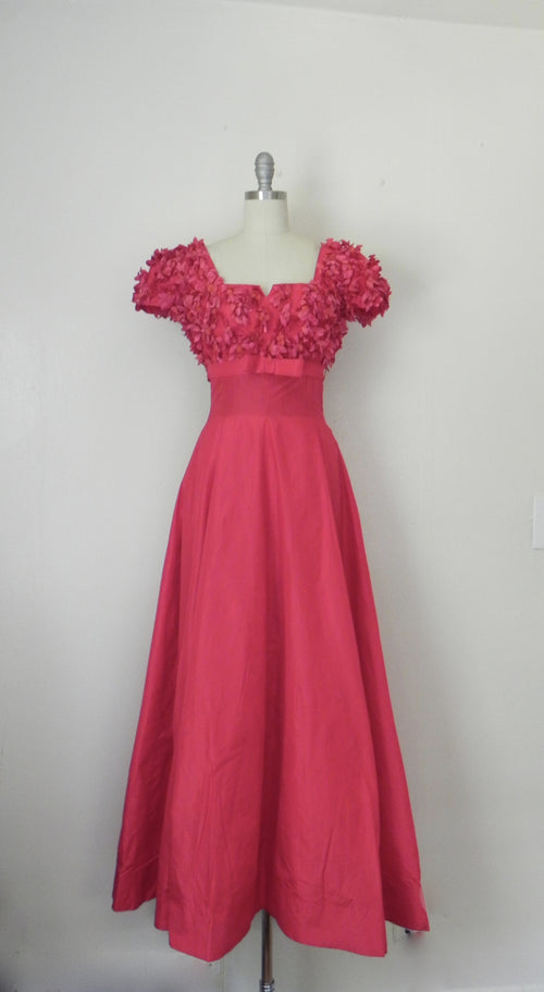 Red Silky Taffeta Empire Full Sweep Couture Gown - Vintage World Rocks - 2