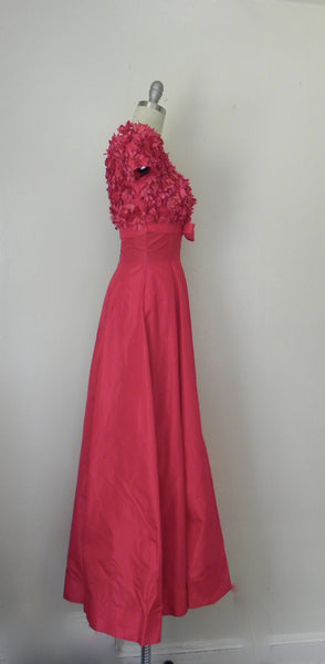 Red Silky Taffeta Empire Full Sweep Couture Gown - Vintage World Rocks - 4