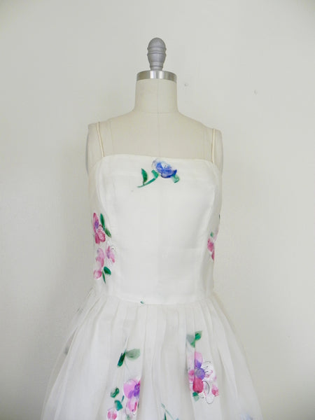 Vintage 1950s Madalyn Miller Hand Painted White Organza Dress - Vintage World Rocks - 2