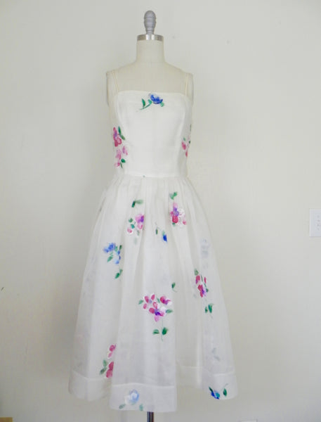 Vintage 1950s Madalyn Miller Hand Painted White Organza Dress - Vintage World Rocks - 3