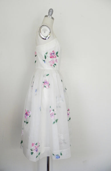 Vintage 1950s Madalyn Miller Hand Painted White Organza Dress - Vintage World Rocks - 5
