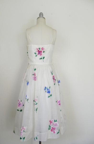 Vintage 1950s Madalyn Miller Hand Painted White Organza Dress - Vintage World Rocks - 6
