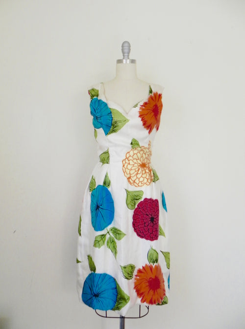 Vintage 1950s Mollie Parnis Floral Printed Silk Dress - Vintage World Rocks - 2
