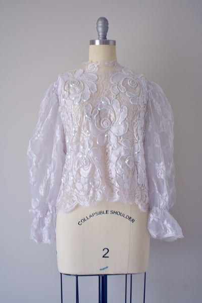 Vintage Lavender Puff Sleeve Top- Medium Large