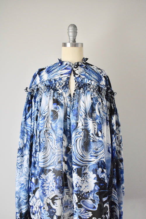NWT $1140 Roberto Cavalli Silk Sheer Chiffon Blue Top