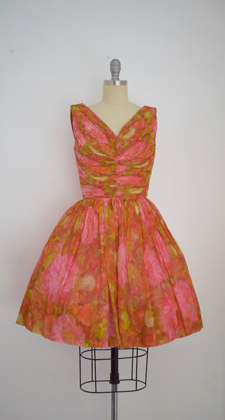 Vintage 1950s Chiffon Abstract Party Dress