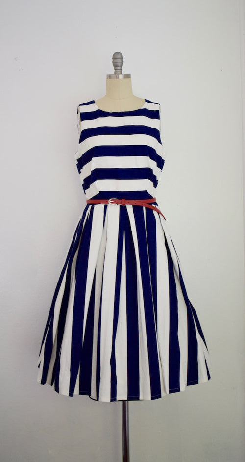 Vintage 1950s Style Navy Blue Striped Swing Dress