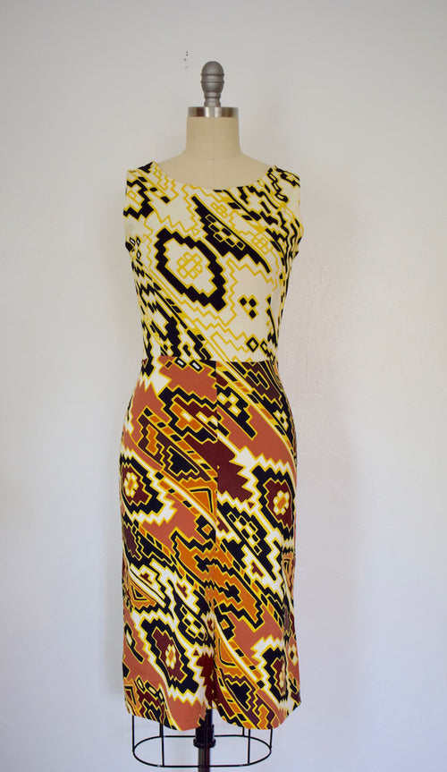 Vintage 1960s LANVIN Printed Knit Day Dress