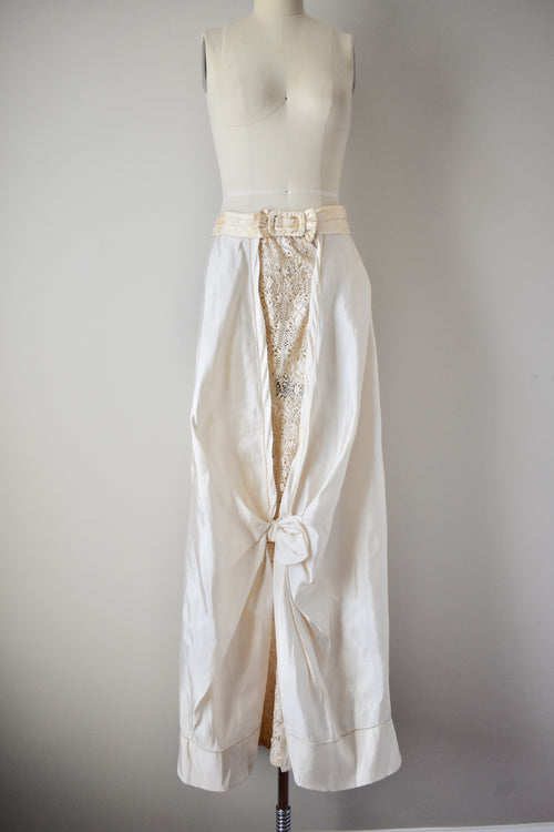 Antique Dupioni Silk Skirt with Lace Insert