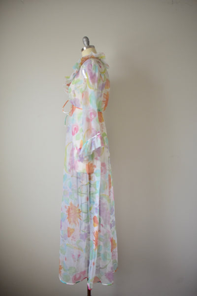 Vintage 1960s Sheer Tricot Dressing Gown- S