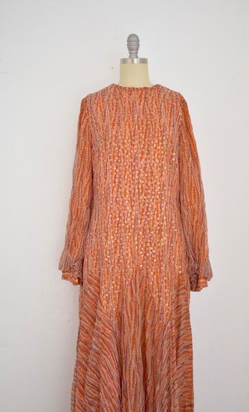 Vintage Orange Sequin Long Sleeve Gown