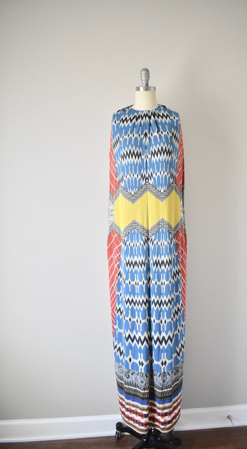 NWT $2800 Etro Made in Italy Slinky Unlined Multi Print Bohemian Dress Gown 44