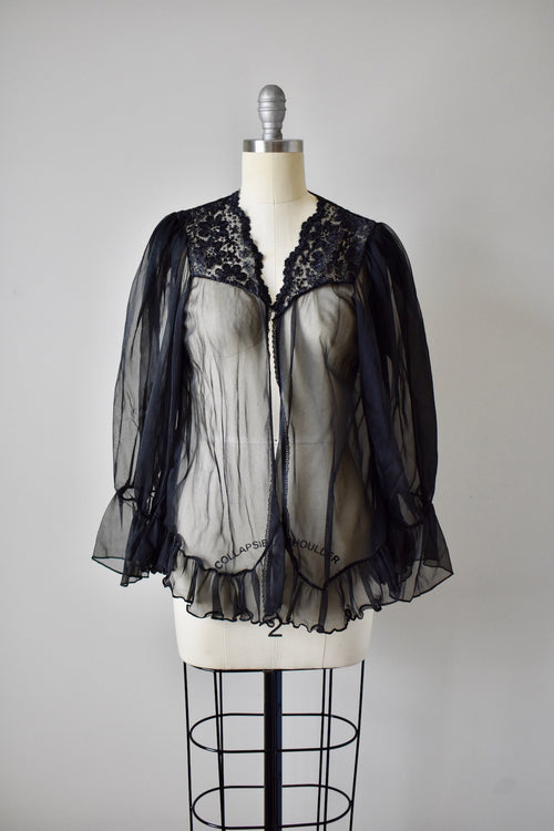 1980s Sheer Black Top