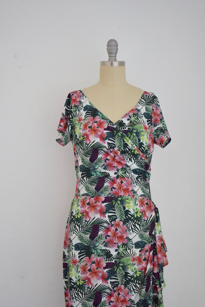 Vintage Inspired 1950s Botanical Tropics  Wrap Effect Dress