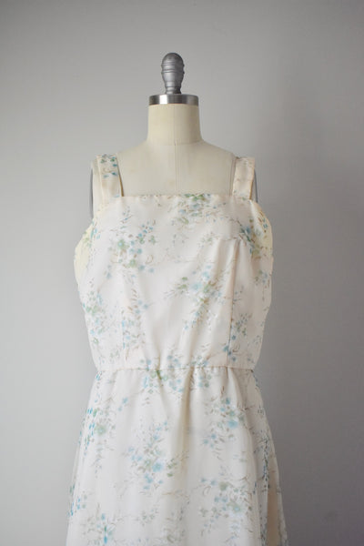 Vintage 1970s Floral Chiffon Gown