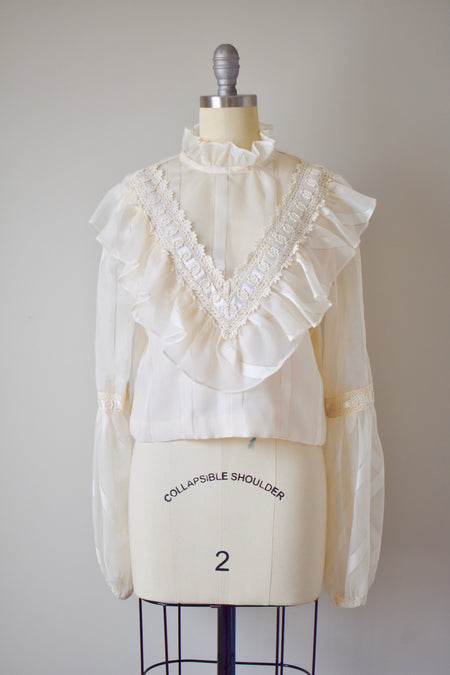 Vintage 1930's Sheer White Cropped Blouse-Small