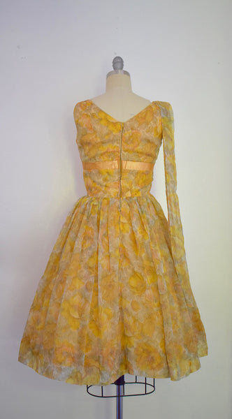 Vintage 1960s Yellow Chiffon Cocktail Party Dress w/ Shoulder Scarf