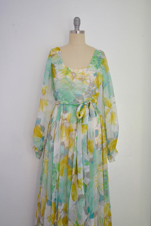 Vintage 1970s Chiffon Floral Dress