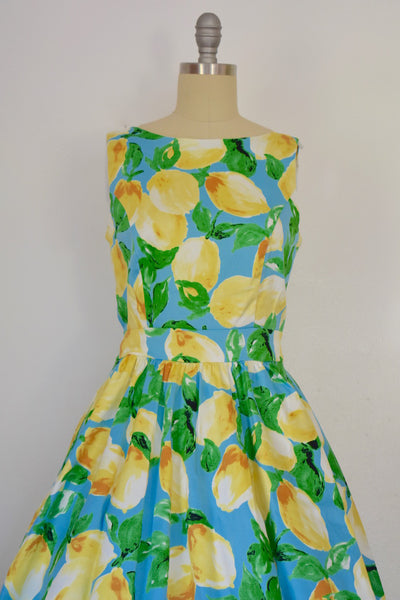 Vintage Inspired 1950s Style Lemon Print Tea Dress