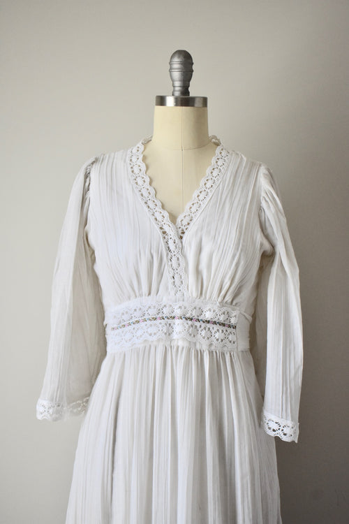Vintage 1970s Cotton Guaze Gown