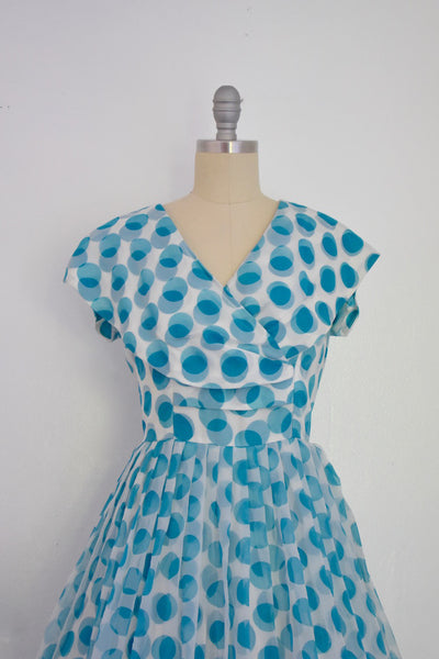 Vintage 1950s Blue Polka Dot Dress