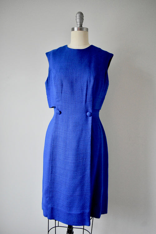 Vintage 1950s Louis Faruad Navy Blue Shift Dress