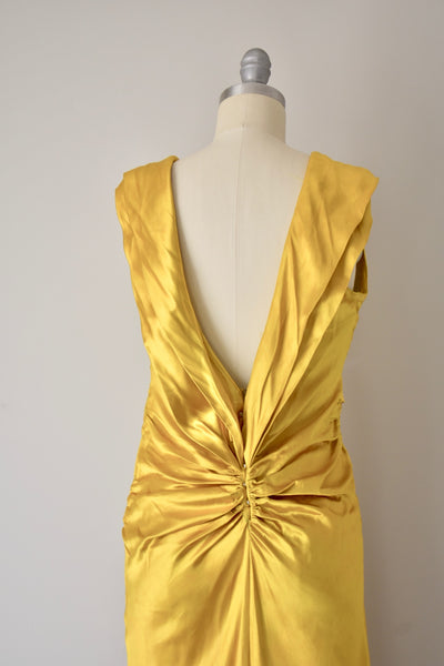 Vintage 1930s Yellow Gold Liquid Gown