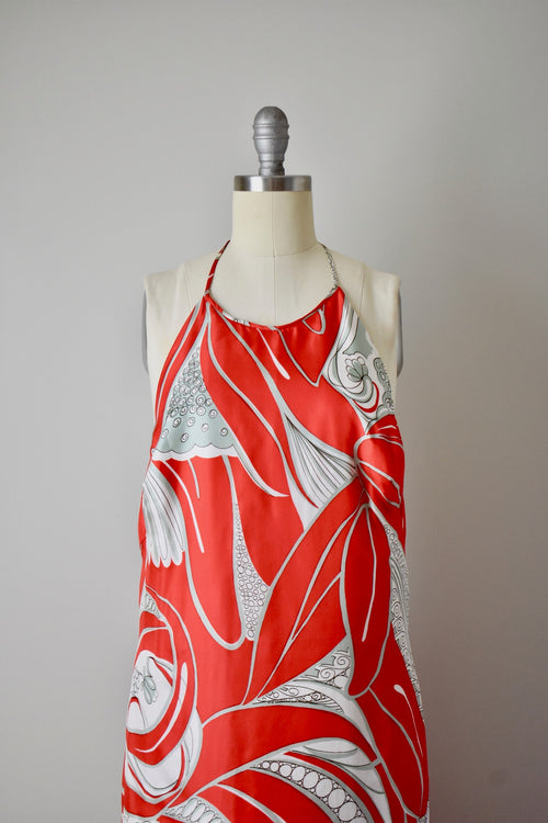 Vintage 1960s Natalie Collet Red Handkerchief Silk Halter Gown