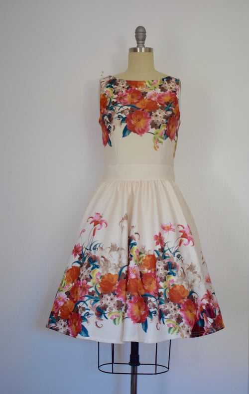 Vintage Inspired 1950s Style White Floral Tea Dress