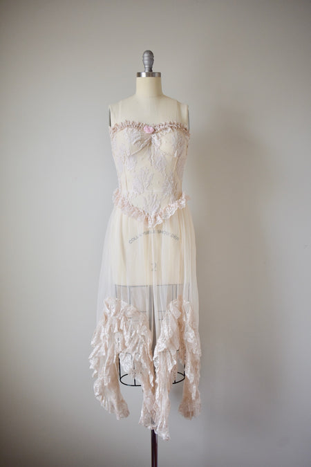 Vintage 1980s Cotton Guaze Crochet Lace Gown
