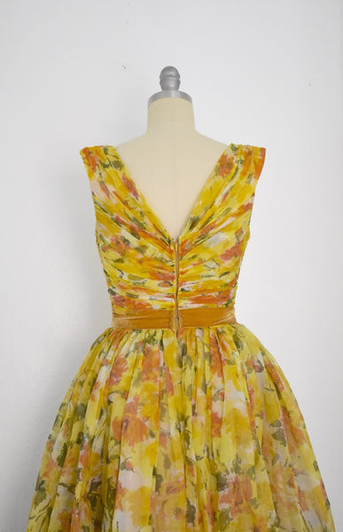 Vintage 1950s Autumn Floral Chiffon Cocktail Dress