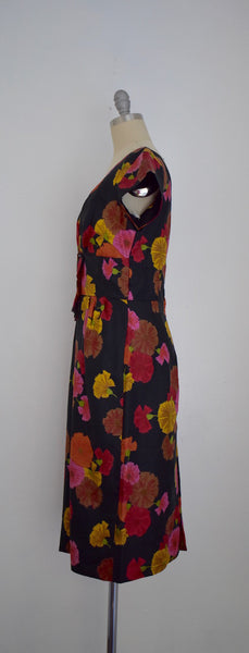 Vintage 1950s Silk Twill Red Yellow Carnation Print Dress