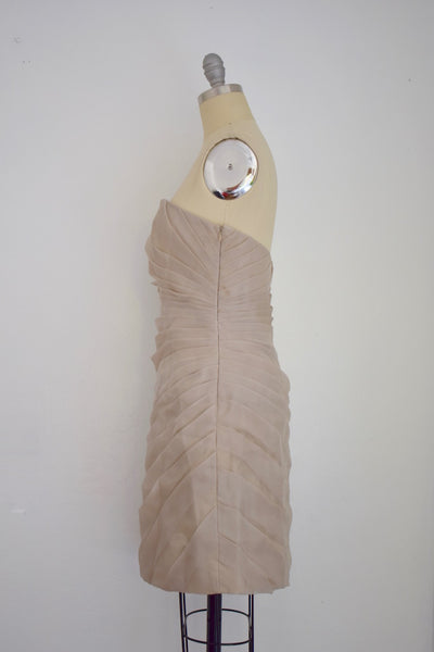 Christian Soriano Beige Ruched Silk Cocktail Dress