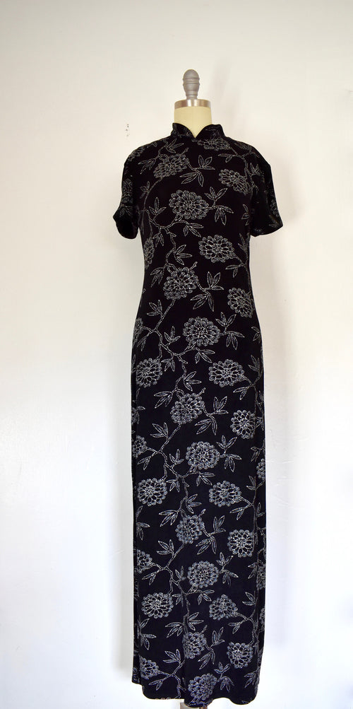 Vintage 1980s Jessica Howard Floral Silver and Black Dress