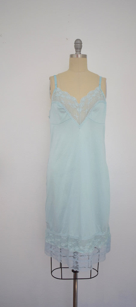 Vintage 1970 Baby Blue Lace Nightgown