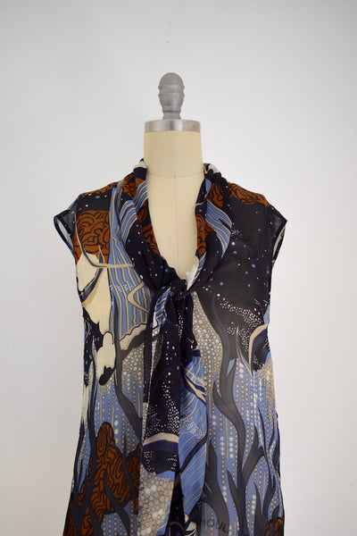 Gucci (I38) Sheer Silk Sleeveless Ocean Sea Reef Dolphin Bubble Print Blouse Top