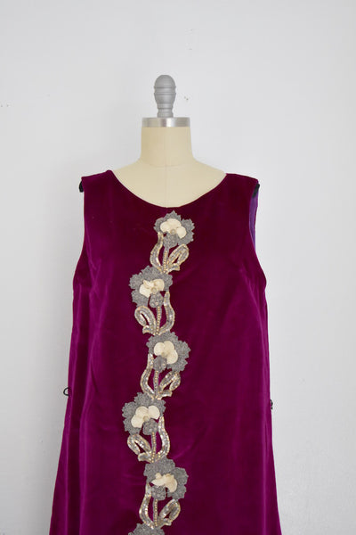 Vintage 1960s Magenta Velvet Shift Dress