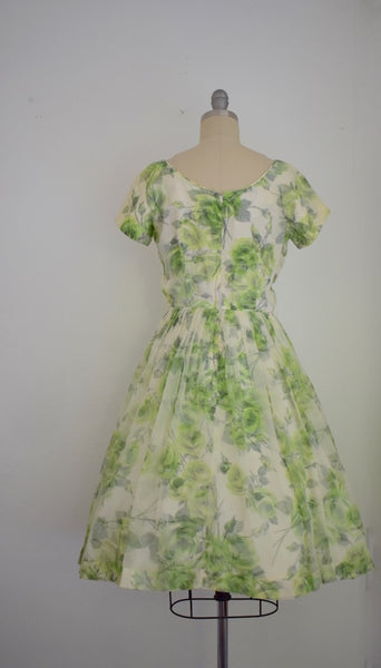 Vintage 1960s Lime Green Rose Chiffon Dress