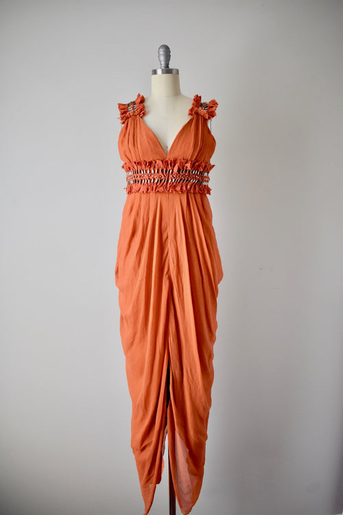 NEW Pumpkin Catherine Malandrino Gown