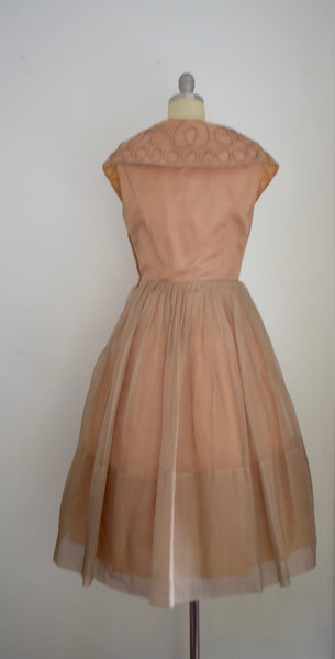 Vintage 1960s Elinor Gray Tan Organdy Cocktail Dress
