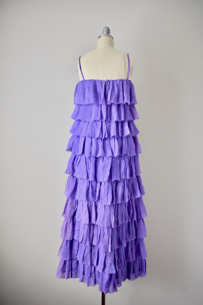 1960s Silk Purple Tired Gown