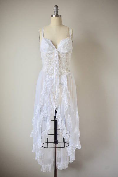 Vintage Ivory White Lace Negligee