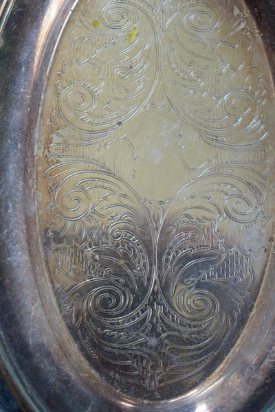 Small Antique Metal Tray with Center Engraving