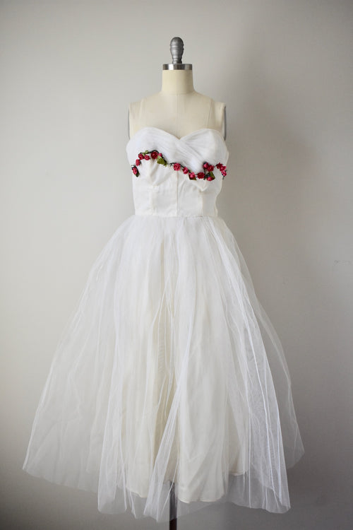 Vintage 1950s White Rosette Tulle Dress