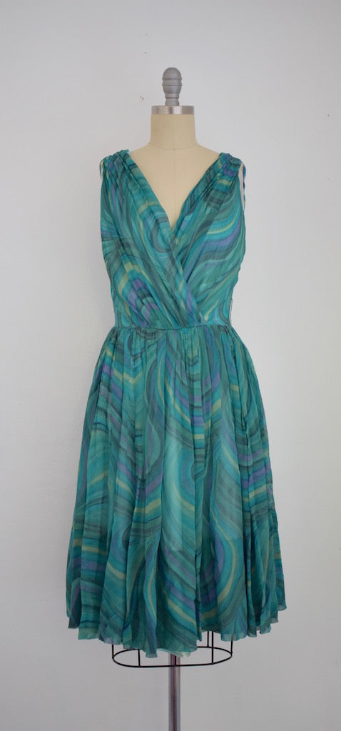 Vintage 1960s Teal Chiffon Dress