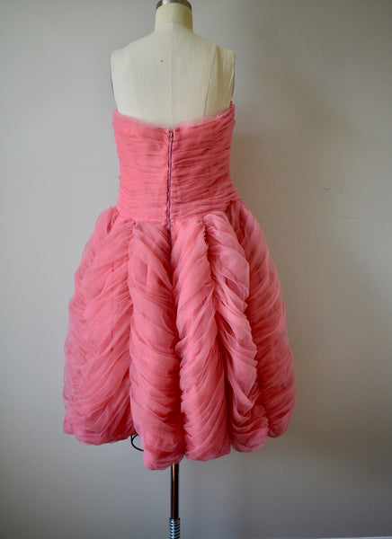Vintage 1950s Pink Tulle Ruffle Dress